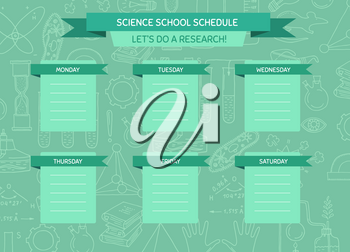 Vector school or work schedule template with sketched science or chemistry elements background and place for text illustration