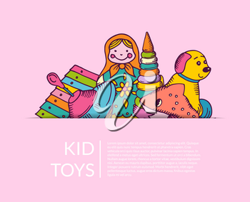 Vector round pile of kid toys elements half hidden illustration with place for text