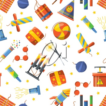 Seamless pattern with pyrotechnic tools, Vector pattern firecracker and skyrocket, bomb and dynamite illustration