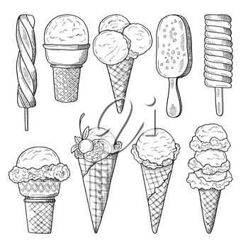 Hand drawn illustrations set of ice creams. Vector sketch. Ice cream drawing doodle collection
