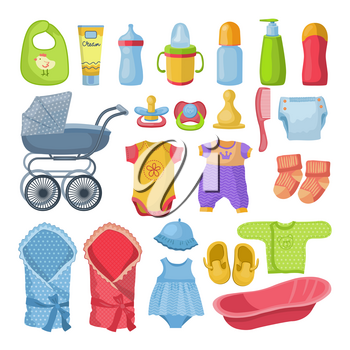 Set of different tools for newborn baby. Vector illustrations in cartoon style. Clothes and accessory for baby