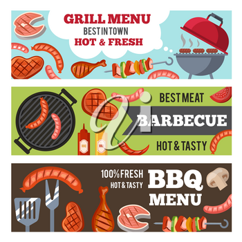 Vector horizontal banners set with illustrations of different foods for bbq party. Meat and sausage cooking grilled poster