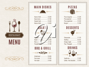 Design template of restaurant menu with place for your text. Salad and dessert, drink and grill illustration
