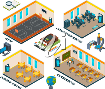 Isometric school interior. Building with various classes of institute or school. Education school isometric plan, classroom and dining room and gym. Vector illustration