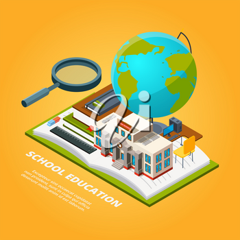 Education isometric pictures. Composition with school symbols. Education school, open book with magnifying, glass, globe and ruler. Vector illustration