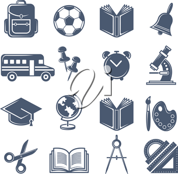 School symbols. Vector black icons set of school icons. Education and learning, teaching study illustration