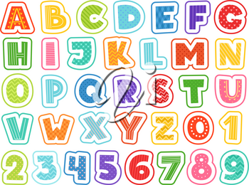 Cartoon alphabet. Cute colored letters numbers signs and symbols for school kids and childrens vector funny font. Alphabet and colored abc, font letter and number illustration