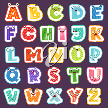 Cartoon alphabet with emotions. Colored cute font characters letters symbols signs and numbers vector alphabet for children. Alphabet cartoon funny, character happy abc illustration