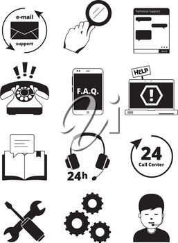 Service center black icons. Tech 24h support customer web chat help admin headset phone manager assistance people vector pictures. Service support call center, helpline monochrome illustration