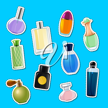 Vector perfume bottles stickers of set illustration isolated on blue background