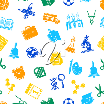 Vector back to school stationery pattern or background illustration. Colored icon backdrop