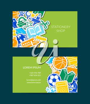 Vector back to school stationery business card template illustration. Colored banner isolated