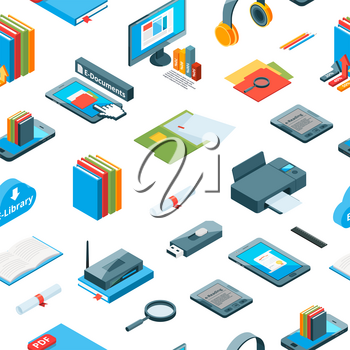 Vector isometric online education icons pattern or background illustration. Colored book and computer
