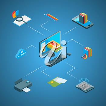 Vector 3d isometric online education icons infographic connect concept illustration