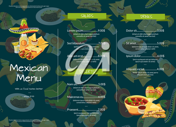 Vector cartoon mexican food cafe or restaurant menu template illustration. Food with price