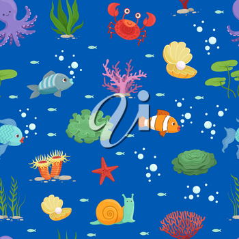 Vector cartoon colored underwater creatures and green seaweed pattern or background illustration