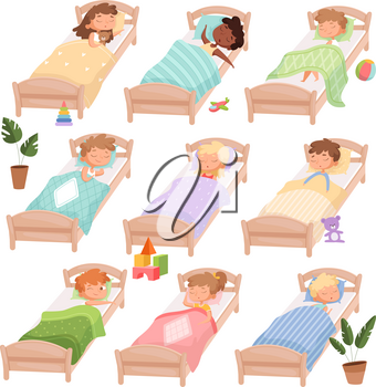 Sleeping kindergarten. Tired boys and girls little kids in beds quiet hour casual daytime vector characters. Boy and girl in kindergarten sleep, dream nighttime illustration