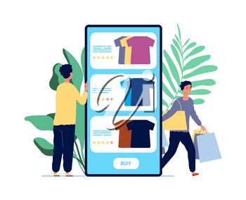 Online shopping. Guy chooses clothes. Product reviews and happy customers. Rating service for mobile application vector illustration. Man store online, customer choose in website to, buy clothing