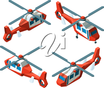 Helicopter isometric. Low poly avia transport different point views vector collection. Illustration helicopter transportation, fly machine isometry