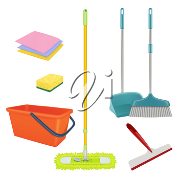 Cleaning service. Realistic equipment for laundry home floor brush bucket broom sterile bathroom cleaner vector set. Bucket and broom, washing tool illustration