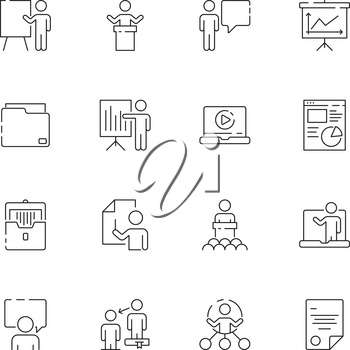 Business presentation icon. Learning managers classroom lecture conference training presentation class vector symbols. Seminar and presentation, training and education illustration