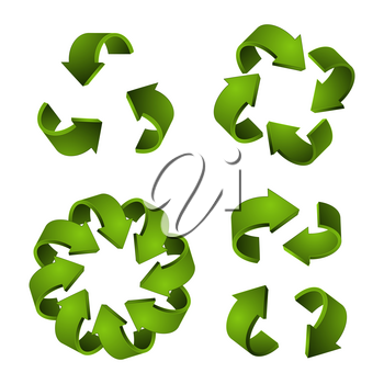 3D recycle icons. Vector green arrows, recycling symbols isolated on white background. Illustration of arrow recycle, green recycling