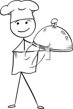 Cartoon vector stick man stickman drawing of male cook chef in chefs hat holding covered plate tray with food.