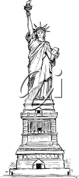 Cartoon vector architectural drawing sketch illustration of United States New York Statue of Liberty.