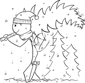 Cartoon stick man drawing illustration of man with saw carrying small tree from forest in snowfall for Christmas.
