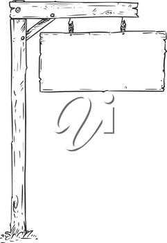 Vector drawing of hanging empty blank wooden sign board