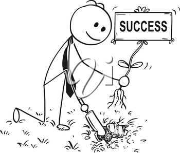 Cartoon stick man drawing conceptual illustration of businessman digging hole with small shovel to plant a tree with success sign as flower. Business concept of investment, growth and career.