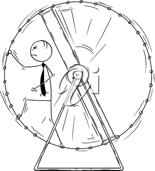 Cartoon stick man drawing conceptual illustration of exhausted businessman in squirrel wheel doing ineffective routine job.