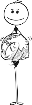 Cartoon stick man drawing conceptual illustration of businessman with earth world globe in his hands. Business concept of global business.