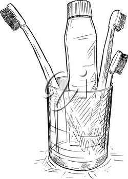 Vector artistic pen and ink hand drawing illustration of toothbrushes and toothpaste in glass cup in bathroom.