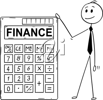 Cartoon stick man drawing conceptual illustration of businessman standing with big electronic calculator with finance text.
