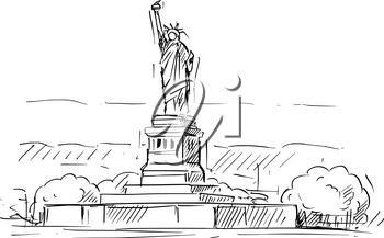 Cartoon sketch drawing illustration of Statue of Liberty in New York, United States.