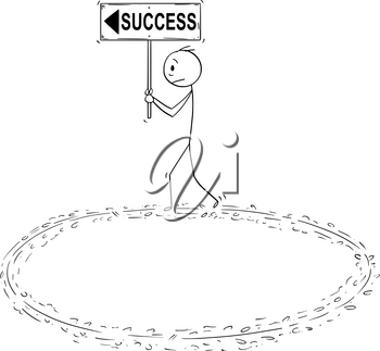 Cartoon stick man drawing conceptual illustration of frustrated businessman holding success and arrow sign and walking in circle trying to achieve success. Business concept of vain effort and burnout syndrome.