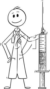 Cartoon stick man drawing conceptual illustration of doctor holding big syringe. Concept pf medicine and healthcare.