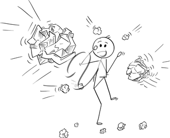 Cartoon stick man drawing conceptual illustration of businessman stoned or hit by crumpled paper balls.