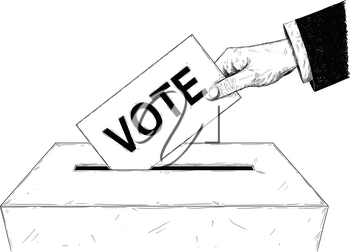 Vector artistic pen and ink drawing illustration of voters or businessman hand putting envelope with vote text in ballot box. Concept of elections.