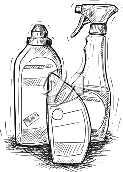 Vector artistic pen and ink hand drawing illustration of house cleaning products.