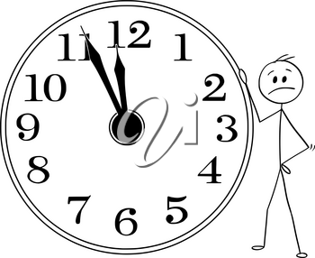 Cartoon stick man drawing conceptual illustration of sad and depressed businessman leaning on big wall clock displaying five minutes before twelve hours or midday or midday. Business or political concept of deadline or time up.