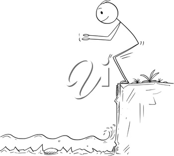 Cartoon stick drawing conceptual illustration of man or businessman ready to jump in unknown shallow water. Business concept of risk and danger.
