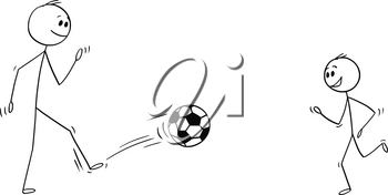 Cartoon stick man drawing conceptual illustration of father and son kicking, training or playing with football or soccer ball.
