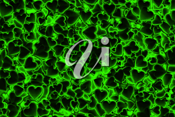 Valentine's Day abstract 3D background pattern with dark radiant, glowing and shining green hearts.