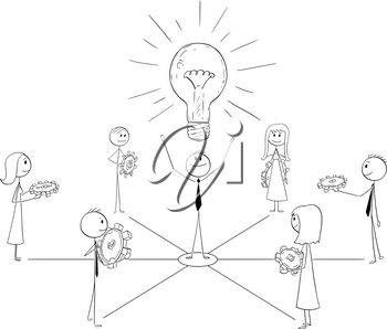 Cartoon stick man drawing conceptual illustration of businessmen and businesswomen working together with manager or leader. Business metaphor of success, teamwork and leadership.