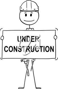 Cartoon stick drawing conceptual illustration of worker, workman, technician or engineer holding empty sign for your text.Usable for website.