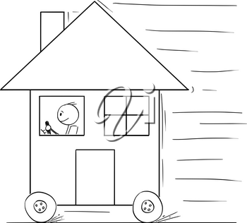 Cartoon stick drawing conceptual illustration of man driving and moving family house on wheels as car.