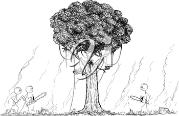 Vector cartoon stick figure drawing conceptual illustration of group of lumberjacks going to cut or chop down the last remaining tree from rain forest. Climate and nature preservation concept.