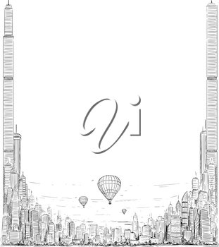 Vector template with artistic sketchy pen and ink drawing illustration of generic city high rise cityscape landscape with skyscraper buildings and hot air balloons.